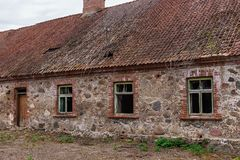The ancient buildings of the early twentieth century that have survived to this day. Old stone houses.  stock photo