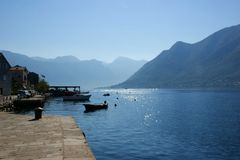Little fiord of Kotor in Montenegro. Ancient buildings and historical walls of biggest fiord in Afriatic sea, Kotor stock photos