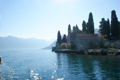 Little fiord of Kotor in Montenegro. Ancient buildings and historical walls of biggest fiord in Afriatic sea, Kotor stock image
