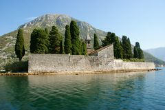 Little fiord of Kotor in Montenegro. Ancient buildings and historical walls of biggest fiord in Afriatic sea, Kotor stock photo