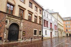 Ancient buildings in Krakow city center, Poland Stock Image