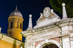 Ancient buildings in Ravenna. Arch and steeple Stock Image