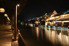 Ancient Buildings by the river. Night scenes of ancient buildings by the river. Wuzhen. Zhejiang. China stock photo