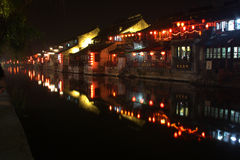 Ancient Buildings by the river. Night scenes of ancient buildings by the river. Xitang. Zhejiang. China stock photos