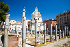 Ancient buildings on Rome Forum Stock Images