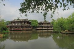 The ancient buildings in Shanghai Water Park Royalty Free Stock Photos