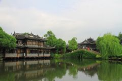 The ancient buildings in Shanghai Water Park Stock Images