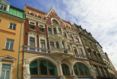 Ancient buildings in street on old Riga Stock Photography