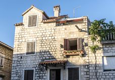 Ancient buildings on the streets of Trogir in Croatia. royalty free stock images