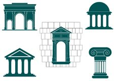 Ancient buildings symbols Stock Photos