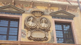Ancient buildings, Verona. Ancient buildings, decorated with sculpture, Verona, Italy Stock Photography