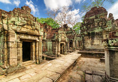 Ancient Buildings With Carving Of Preah Khan Temple In Angkor Stock Photos