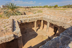 Ancient burial chamber at the `Tomb of the Kings in Paphos, Cyprus. Royalty Free Stock Photos