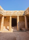 Ancient burial chamber at the `Tomb of the Kings in Paphos, Cyprus. Stock Images
