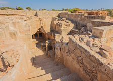 Ancient burial chamber at the `Tomb of the Kings in Paphos, Cyprus. Royalty Free Stock Photo