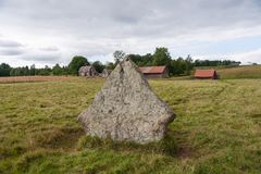 Ancient burial ground in Ekornavallen. Falköping district. Sweden. Europe. Remains of ancient burial grounds, older then famous Stonehenge in England stock photo