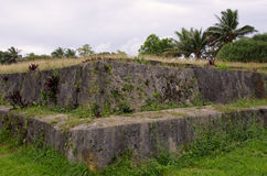 Ancient Burial Ground, Tonga. One of the pyramidal stone tombs for royalty, named langi, on Tongatapu, Tonga stock image