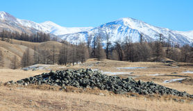 Ancient burial mounds. In the mountains Stock Photography