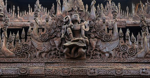 Ancient Burmese wood carving Royalty Free Stock Images