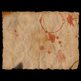 Ancient burned bloody paper Stock Images