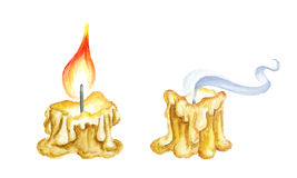 Ancient Burning Candle. Watercolor illustration Stock Image