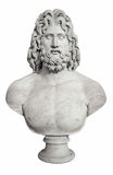 Ancient bust of the greek god Zeus. Isolated on white with clipping pah Royalty Free Stock Photo