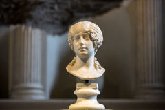 Ancient bust of the woman in the baths of Diocletian in Rome. Italy Royalty Free Stock Photos
