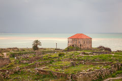 Ancient Byblos Ruins. Remains and ruins of ancient seacoast civilization in Byblos, Lebanon Stock Photo
