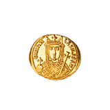 Ancient Byzantine Coin (Reverse). Reverse side of ancient byzantine coin with depiction of Empress Irene Royalty Free Stock Photo