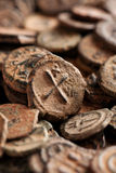 Ancient Byzantine copper coins with cross Royalty Free Stock Photography