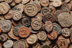 Ancient Byzantine copper coins top view. Pile of ancient Byzantine copper coins top view, macro royalty free stock photo