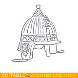 Ancient byzantine helmet. Editable vector icon in linear style Royalty Free Stock Photo
