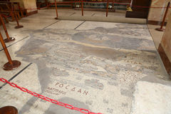 Ancient byzantine map of Holy Land on floor of Madaba St George Basilica, Jordan. Middle East Royalty Free Stock Images