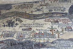 Ancient byzantine map of Holy Land on floor of Madaba St George Basilica, Jordan. Middle East Stock Photography