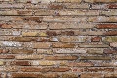 Ancient Byzantium brick wall, fragment from ancient Greek building. Ancient Byzantium brick wall texture, fragment from ancient Greek building stock photos