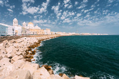 Ancient Cadiz city in southern Spain. Cadiz Cathedral and old to Stock Photography