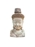 Ancient Cambodian Hinduism God Bust Statue, Isolated Stock Photography