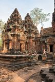 Cambodian temple Banteay Srei Pink Templ Royalty Free Stock Image