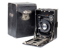Ancient camera and case one Stock Photography