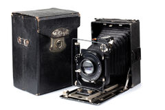 Ancient camera and case three Royalty Free Stock Photography