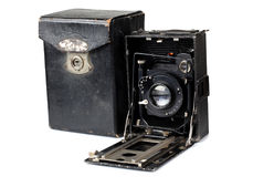 Ancient camera and case two Stock Images