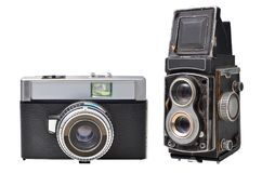 Ancient cameras isolated on white background. Antique , old cameras isolated on white background. Horizontal photo Stock Images