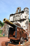 Ancient cannon. Infront of A Famosa Melacca stock photos