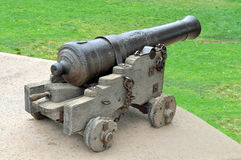 Ancient Cannon. An Ancient Cannon stands guard over an Old Fortress Royalty Free Stock Photos