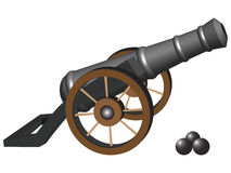 Ancient cannon. And iron balls against white background, abstract vector art illustration Stock Images