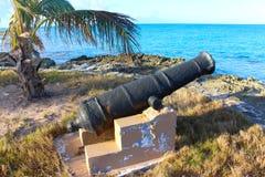 An ancient cannon, Long Island, Bahamas. An ancient cannon along the coast of Long Island, Bahamas stock photo