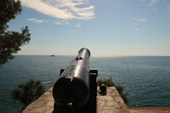 Ancient Cannon. Overlooking the Croatian Sea royalty free stock image