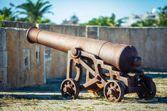 Ancient cannon closer. Two ancient cannons inside the pirate fortress Stock Photos