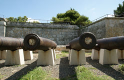 Ancient cannon on the fortress town of Pula, Croatia Stock Images