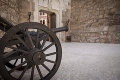 Ancient cannon inside Belmonte Castle, province of Cuenca, Castilla La Mancha, Spain Royalty Free Stock Photos